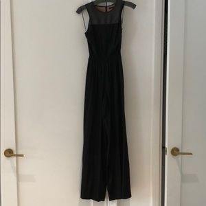 Jay Godfrey Black Silk and Leather Jumpsuit